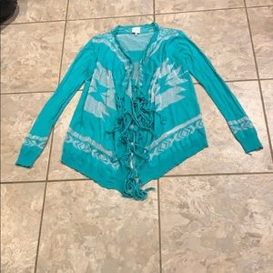 Green and silver patterned fringe cardigan